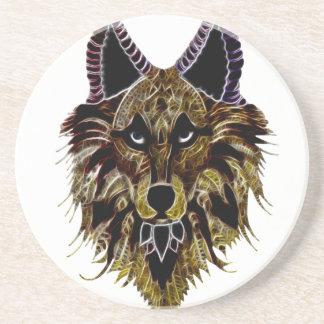 Der Kopf des Wolfs Sandstein Untersetzer