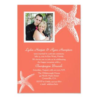 Der korallenrote orange Foto-Hochzeits-Empfang 12,7 X 17,8 Cm Einladungskarte