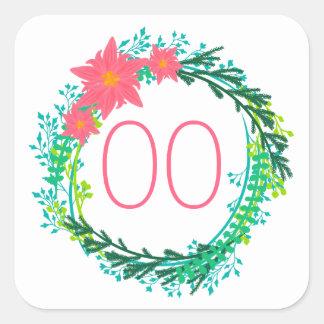 Der Kranz-18. 21. 30. 40. 50. Geburtstag der Quadratischer Aufkleber