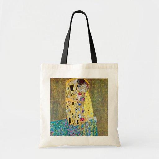 Der Kuss (Der Kuss) durch Gustav Klimt, Kunst Leinentaschen
