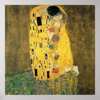 Der Kuss durch Gustav Klimt, Vintage Kunst Nouveau Poster