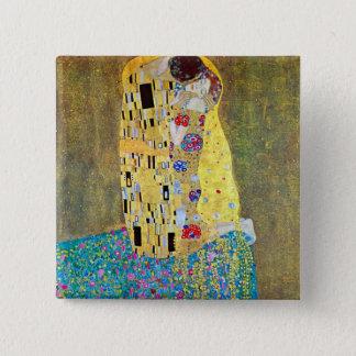 Der Kuss durch Gustav Klimt, Vintage Kunst Nouveau Quadratischer Button 5,1 Cm