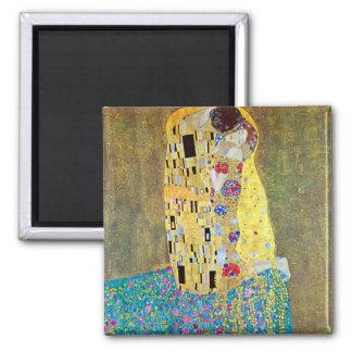 Der Kuss durch Gustav Klimt, Vintage Kunst Nouveau Quadratischer Magnet