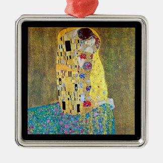 Der Kuss durch Gustav Klimt, Vintage Kunst Nouveau Quadratisches Silberfarbenes Ornament