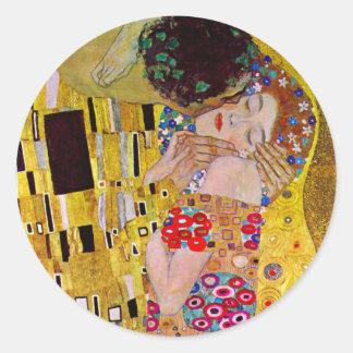 Der Kuss durch Gustav Klimt, Vintage Kunst Nouveau Runder Aufkleber