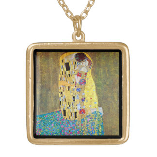 Der Kuss durch Gustav Klimt, Vintage Kunst Nouveau Vergoldete Kette