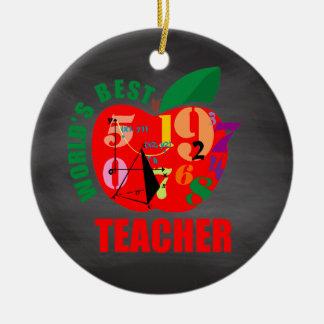 Der Lehrer-Apples | der Welt bestes Tafel-Mathe Rundes Keramik Ornament