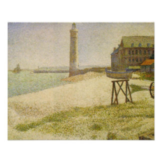 Der Leuchtturm bei Honfleur durch Georges Seurat 11,4 X 14,2 Cm Flyer