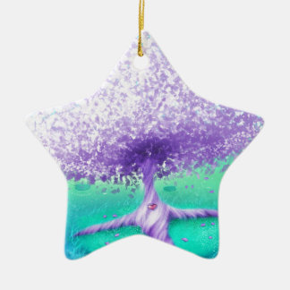 Der lila Baum in dem See Keramik Stern-Ornament