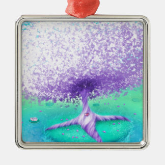 Der lila Baum in dem See Quadratisches Silberfarbenes Ornament