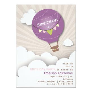 Der lila Geburtstag der Heißluft-Ballon-u. 12,7 X 17,8 Cm Einladungskarte