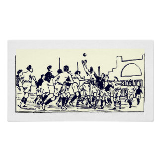 Der Lineout - Vintager Rugby-Illustrations-Druck Poster
