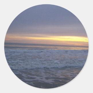 Der Long Beach Sonnenuntergang Runder Aufkleber