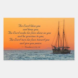 Der Lord Bless You, Zahl-6:24 - 26, Schiff in Meer Rechteckiger Aufkleber
