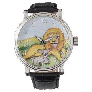 Der Löwe und die Lamm-Uhr (w/Numbers) Uhr