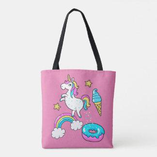 Der lustige Unicorn, der Regenbogen kackt, Tasche
