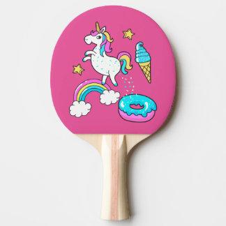 Der lustige Unicorn, der Regenbogen kackt, Tischtennis Schläger
