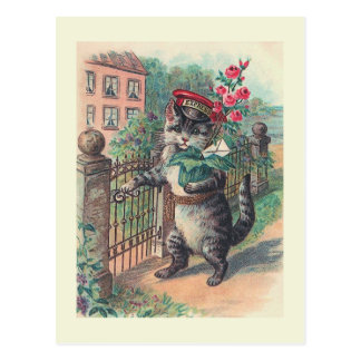 """Der mailman-"" Vintage Katzen-Postkarte Postkarte"