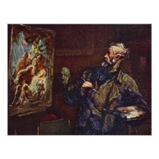 Der Maler durch Daumier Honoré Personalisierte Einladungskarte