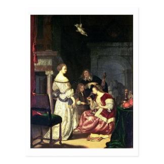 Der Maler mit seiner Familie, 1675 (Öl auf Platte) Postkarte