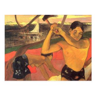 Der Mann mit der Axt - Paul Gaugun Postkarte