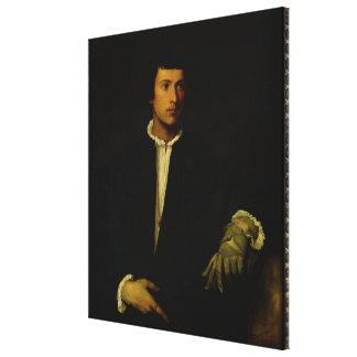 Der Mann mit einem Handschuh, c.1520 Gespannter Galerie Druck