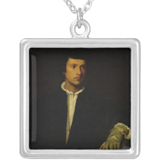 Der Mann mit einem Handschuh, c.1520 Halskette Mit Quadratischem Anhänger