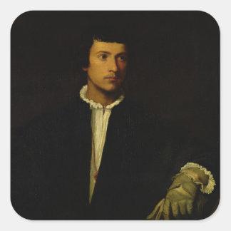 Der Mann mit einem Handschuh, c.1520 Quadrat-Aufkleber