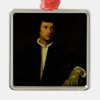 Der Mann mit einem Handschuh, c.1520 Quadratisches Silberfarbenes Ornament