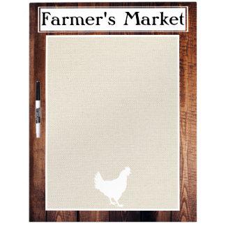 Der Markt-rustikale Land-Bauernhaus-Weiß-Henne des Trockenlöschtafel