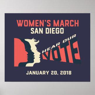 Der März-San Diego der Frauen offizielles Poster