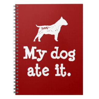 """Der mein Hund des Kindes """"aß es"""" zurück zu Notizblock"""
