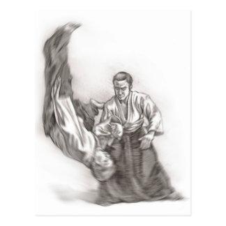 Der Meister eines Aikido - Gebrauch von Energie Postkarte