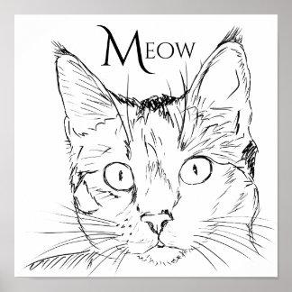 Der Meow-Schwarz-Linie der zeitgenössischen Katze Poster