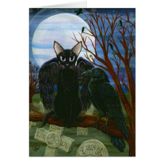 Der Mond-schwarze Katzen-Krähe Goth Grußkarte