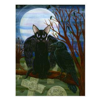 Der Mond-schwarze Katzen-Krähen-gotische Postkarte