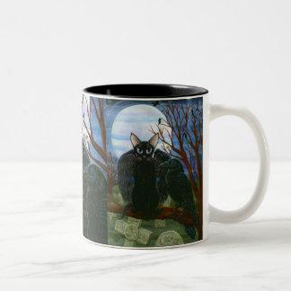 Der Mond-schwarze Katzen-Krähen-gotische Zweifarbige Tasse