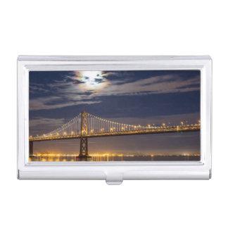 Der Moonrise heute Abend über der Bucht-Brücke Visitenkarten Dose