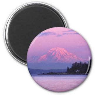 Der Mount Rainier am Sonnenuntergang, Staat Runder Magnet 5,1 Cm