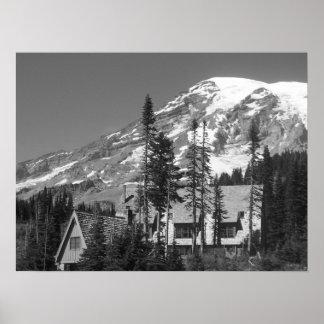 Der Mount Rainier Schwarzweiss Poster