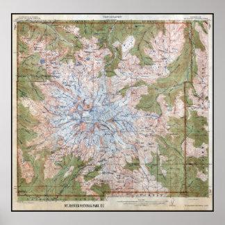 DER MOUNT- RAINIERtopographische Karte 1915 Poster