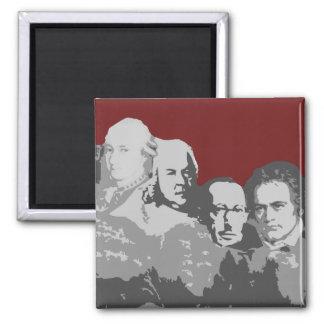 Der Mount Rushmore des Komponist-Rot-Magneten Quadratischer Magnet
