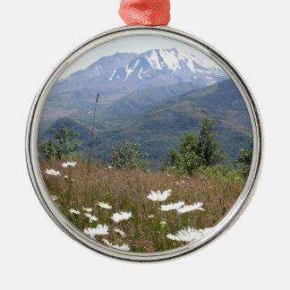 Der Mount Saint Helens Rundes Silberfarbenes Ornament