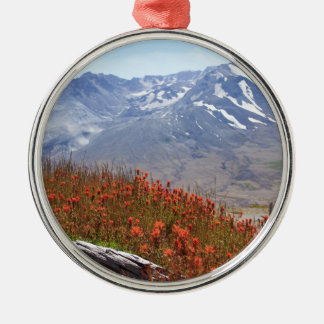 Der Mount- Saint HelensWildblumen Rundes Silberfarbenes Ornament