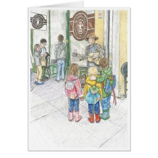 Der Musiker an Pikes Markt Mitteilungskarte