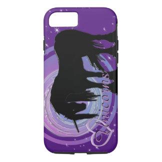 Der mystische schwarze Unicorn-(lila/blaue iPhone 8/7 Hülle