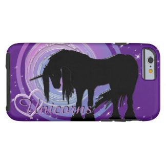 Der mystische schwarze Unicorn-(lila/blaue Tough iPhone 6 Hülle