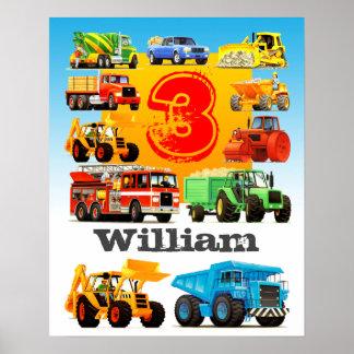 Der Name-und das Alters-3. Geburtstags-großer LKW Poster