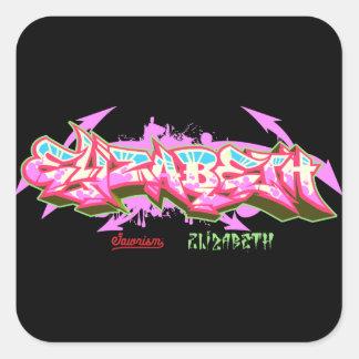 Der NamensElizabeth im GraffitiAufkleber Quadratischer Aufkleber