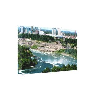 Der Niagara Fluss Luftaufnahme #1 wickelte Leinwan Leinwanddruck